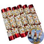 "6 Stück edle Christmas Crackers Kinder ""Racing Reindeer"" ca. 33cm Weihnachtsdeko"
