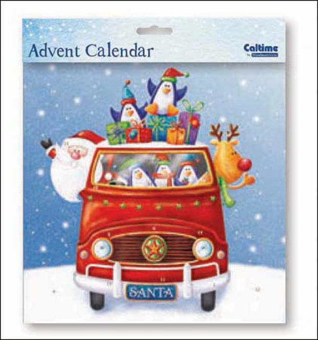 """Nostalgischer Adventskalender """"Santa und Rudolf"""" mit Umschlag"""