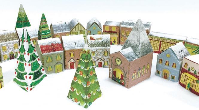 """Nostalgischer 3D Adventskalender """"Christmas Village / Weihnachtsdorf"""" Caltime"""