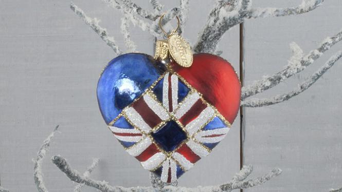 """Union Jack Heart"" Britische Flagge Herz Christbaumkugel - Brink Nordic"